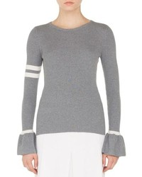 Akris Punto Stripe Wool Bell Sleeve Sweater