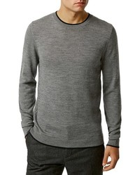 Topman Tipped Merino Wool Crewneck Sweater