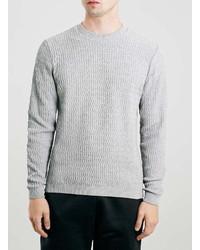 Topman Light Gray Wave Rib Sweater