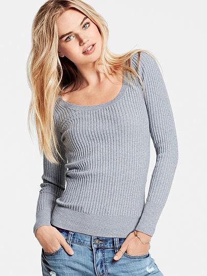 0b3e1f5a1835c2 Victoria's Secret Ribbed Scoopneck Sweater, $34   Victoria's Secret ...