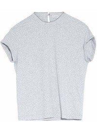 Brunello Cucinelli Bead Embellished Stretch Cotton Jersey T Shirt