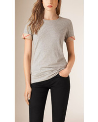 Burberry Check Cuff Stretch Cotton T Shirt