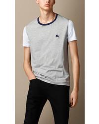 Burberry Colour Block Cotton T Shirt