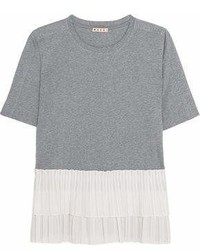 Marni Cotton Jersey And Tiered Pleated Poplin T Shirt