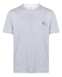 Brunello Cucinelli Embroidered Logo Cotton T Shirt