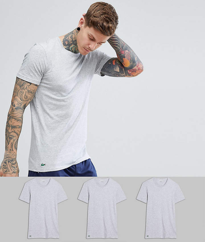 15e475f7 Lacoste Essentials T Shirts 3 Pack Crew Neck In Regular Fit, $57 ...