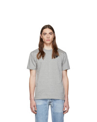 Comme Des Garcons Play Grey And Black Heart Patch T Shirt