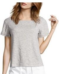 Wyatt Grey Heather Knit Jersey Moira Cropped Short Sleeve Tee Shirt