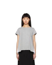 Sacai Grey Pleated Panel T Shirt