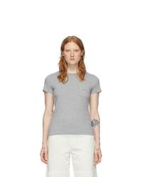 MAISON KITSUNE Grey Tricolor Fox T Shirt