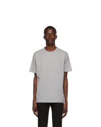 MAISON KITSUNÉ Grey Tricolor Fox T Shirt