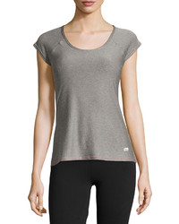 Marika Tek Cap Sleeve Ruched Back Tee Heather Gray