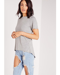 Missguided Crew Neck Curve Drop Hem T Shirt Grey