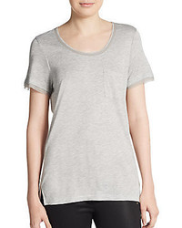 Vince Mixed Media Charmeuse Trimmed Tee