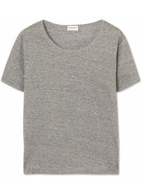 Saint Laurent Mlange Cotton Jersey T Shirt Gray