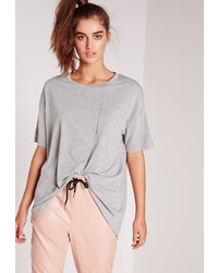 Missguided Pocket Front Oversize T Shirt Grey