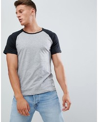 Pier One Raglan T Shirt In Black And Grey