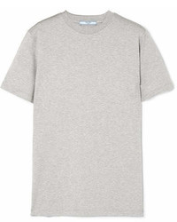 Prada Rubber Appliqud Cotton Jersey T Shirt Gray