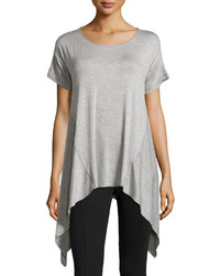 Max Studio Sharkbite Hem Scoop Neck Tee Light Heather Gray