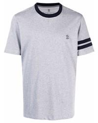 Brunello Cucinelli Stripe Trim Logo T Shirt