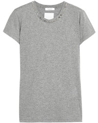 Valentino Studded Cotton Jersey T Shirt Gray