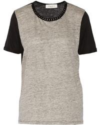 Sandro Taki Velvet Trimmed Linen Jersey T Shirt