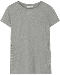 Valentino The Rockstud Embellished Cotton Jersey T Shirt Gray