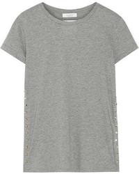 Valentino The Rockstud Embellished Cotton Jersey T Shirt Gray