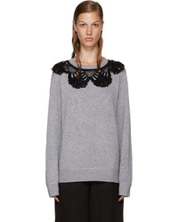 Marc Jacobs Grey Crochet Collar Pullover