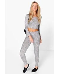 Boohoo Amy Rib Knit Crop Knitted Loungewear Set