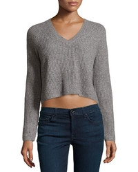 Design History Cashmere Fisherman Cropped Sweater Heather Gray