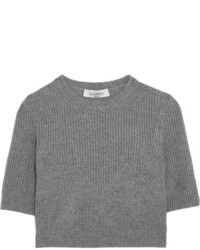 Valentino Cropped Ribbed Cashmere Sweater Gray