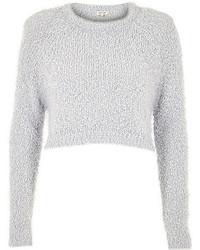 River Island Light Grey Fluffy Crop Sweater