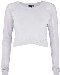 River Island Light Grey Wrap Front Mesh Sleeve Crop Top