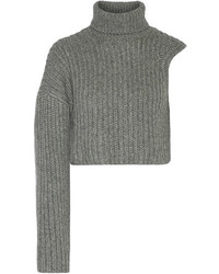Michl kors collection one shoulder cropped wool and mohair blend turtleneck sweater gray medium 5363925
