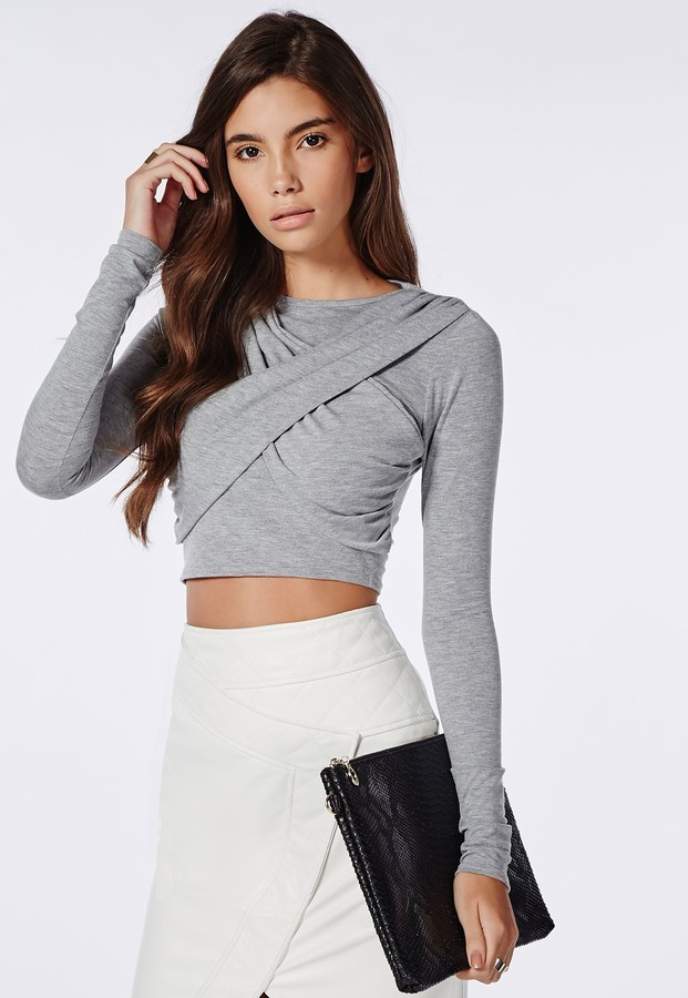 502091941a70b ... Missguided Wrap Over Long Sleeve Jersey Crop Top Grey ...