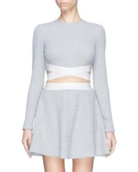 Nobrand Sedonna Cutout Side Check Knit Crop Top