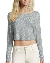 Wyatt Snow And Grey Nap Yarn Cropped Sweater