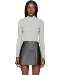 Alexander Wang T By Grey Cropped Ribbed Cardigan