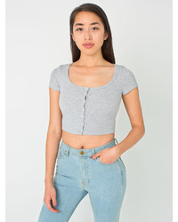 American Apparel 2x1 Rib Button Crop Top
