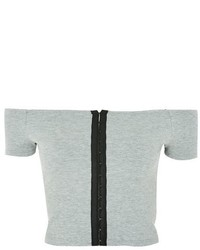 Topshop Bardot Hook Eye Crop Top