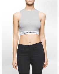 Calvin Klein Solid Halter Cropped Tank Top