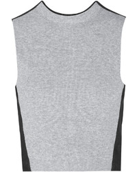 Proenza Schouler Cropped Ribbed Knit Cotton And Denim Top