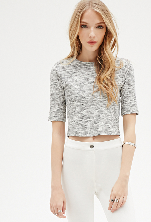 Forever 21 Marled Knit Zippered Crop Top Where To Buy How To Wear
