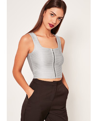 Missguided Sheen Ribbed Open Back Crop Top Grey
