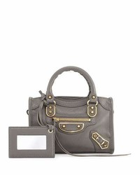 Balenciaga Classic Metallic Edge Nano City Aj Crossbody Bag Dark Gray