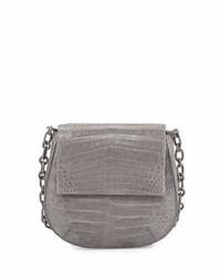 Nancy Gonzalez Crocodile Shoulder Saddle Bag Gray