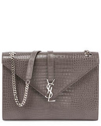 Kate monogram crocodile embossed envelope chain shoulder bag medium 950191