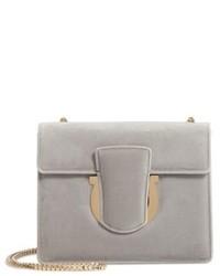 Salvatore Ferragamo Small Thalia Velvet Crossbody Bag Grey