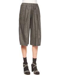 Brunello Cucinelli Cashmere Blend Tweed Culotte Pants Anthracitemedium Gray
